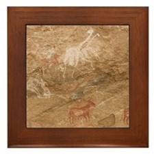 Pictograph of humans and animals, Liby Framed Tile