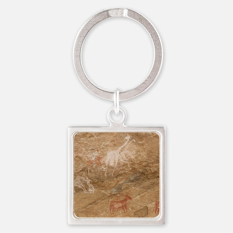 Pictograph of humans and animals,  Square Keychain