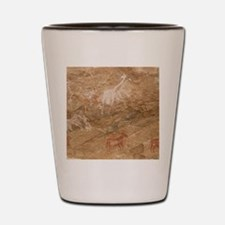 Pictograph of humans and animals, Libya Shot Glass