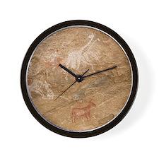 Pictograph of humans and animals, Libya Wall Clock