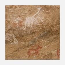 Pictograph of humans and animals, Lib Tile Coaster