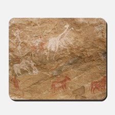 Pictograph of humans and animals, Libya Mousepad