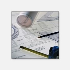 """Architectural drawings Square Sticker 3"""" x 3"""""""