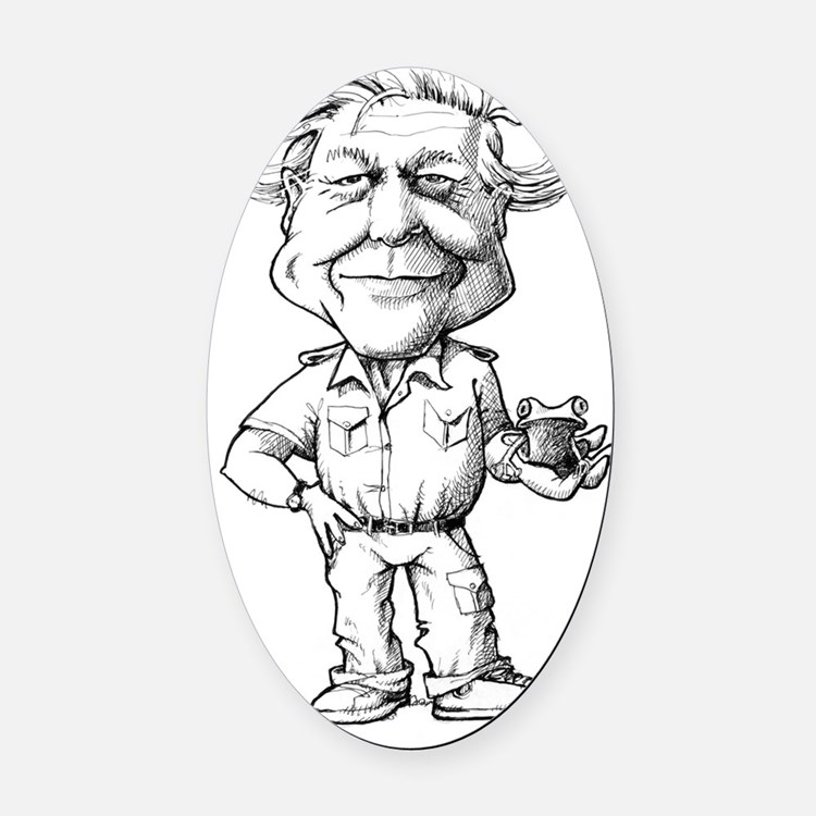 David Attenborough, British natura Oval Car Magnet