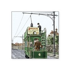 """Early electric tram Square Sticker 3"""" x 3"""""""