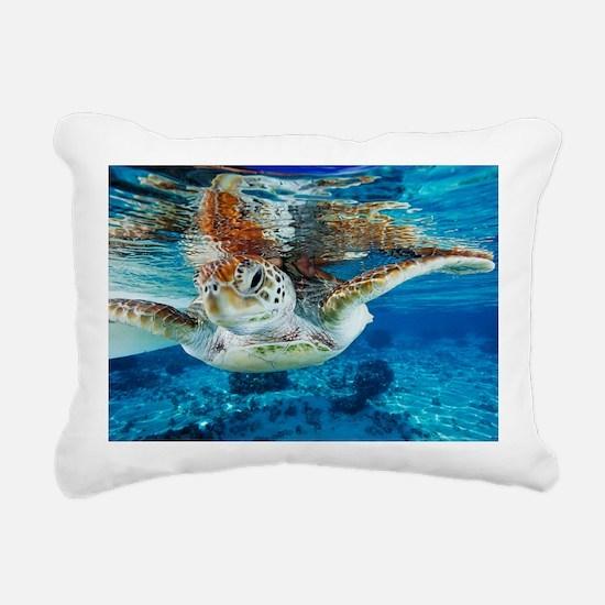 Green turtle Rectangular Canvas Pillow