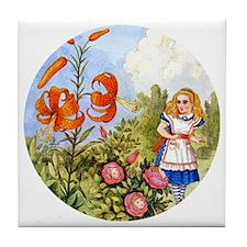 Alice Talking Flowers_RD Tile Coaster