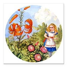"""Alice Talking Flowers_RD Square Car Magnet 3"""" x 3"""""""