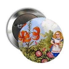"""Alice Talking Flowers_SQ 2.25"""" Button"""