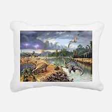 Early Cretaceous life, a Rectangular Canvas Pillow