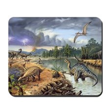 Early Cretaceous life, artwork Mousepad
