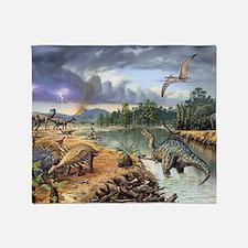 Early Cretaceous life, artwork Throw Blanket