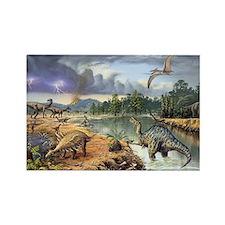 Early Cretaceous life, artwork Rectangle Magnet