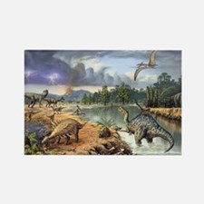 Early Cretaceous life, artwork Rectangle Magnet