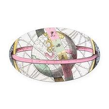 Earth's celestial circles, 1708 ar Oval Car Magnet
