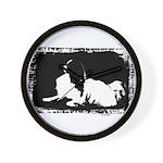 Japanese Chin Mod Dog Black & White Wall Clock