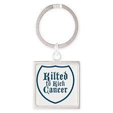 Kilted to Kick Cancer logo Square Keychain