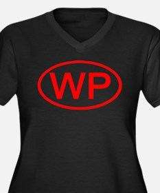 WP Oval (Red) Women's Plus Size V-Neck Dark T-Shir