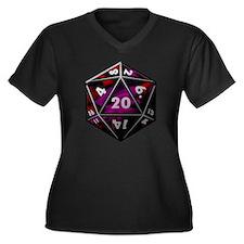 D20 color Women's Plus Size Dark V-Neck T-Shirt