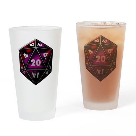 D20 color Drinking Glass