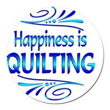 Happiness is Quilting Round Car Magnet