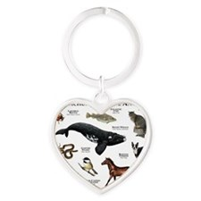 Massachusetts State Animals Heart Keychain