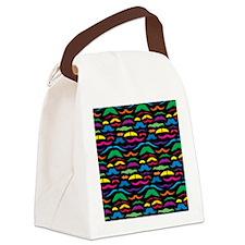 Mustache Color Pattern Black Canvas Lunch Bag