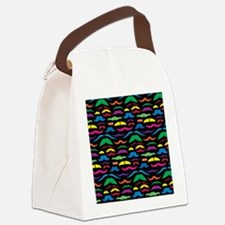 Mustache Color Pattern Black Canvas Lunch Bag