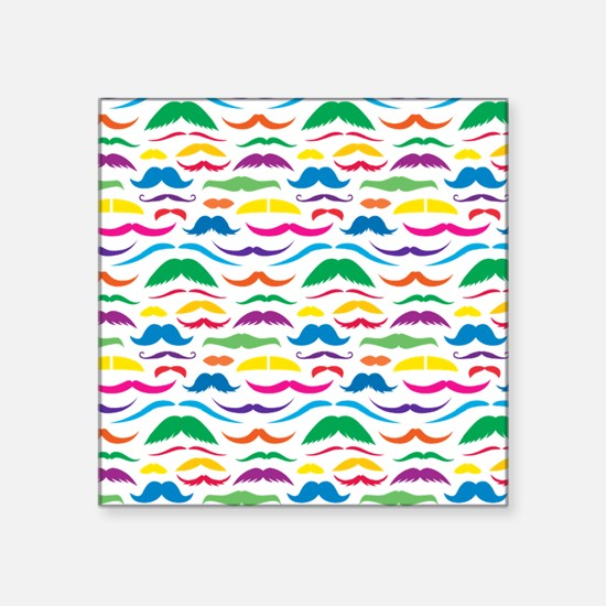 "Mustache Color Pattern Square Sticker 3"" x 3"""