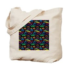 Mustache Color Pattern Black Tote Bag
