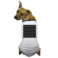 Mustache Color Pattern Black Dog T-Shirt