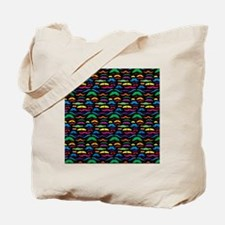 Mustache Color Pattern Black Tote Bag