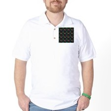 Mustache Color Pattern Black T-Shirt