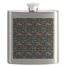 Mustache Color Pattern Black Flask