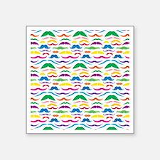 """Mustache Color Pattern Square Sticker 3"""" x 3"""""""