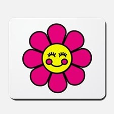 Smiley Pink Flower Mousepad