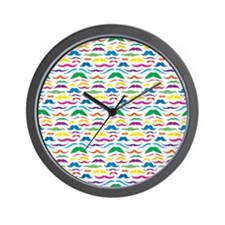 Mustache Color Pattern Wall Clock