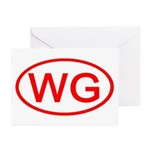 WG Oval (Red) Greeting Cards (Pk of 10)
