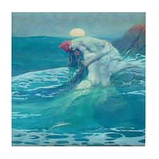 Vintage Mermaid and Mortal Tile Coaster