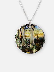 Greek Temple Garden Necklace Circle Charm
