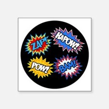 "Hero Pow Bam Zap Bursts Square Sticker 3"" x 3"""
