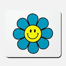 Smiley Blue Flower Mousepad