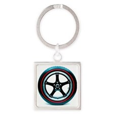 Red Line Tire Square Keychain