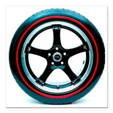 """Red Line Tire Square Car Magnet 3"""" x 3"""""""