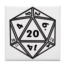 D20 White Tile Coaster