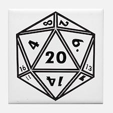 D20 White Tile Coaster