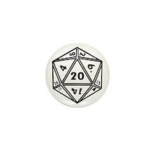 D20 White Mini Button
