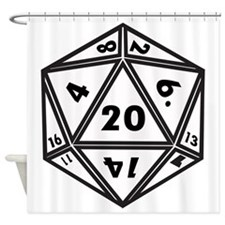 D20 White Shower Curtain