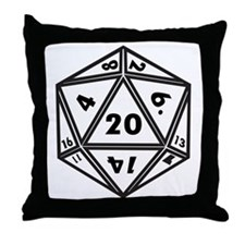 D20 White Throw Pillow