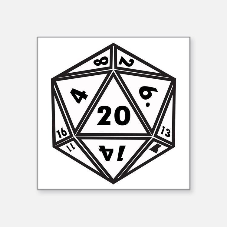 "D20 White Square Sticker 3"" x 3"""